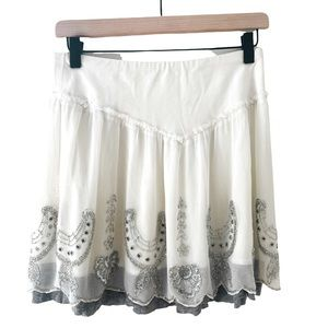 Free People white beaded embroidered mini skirt